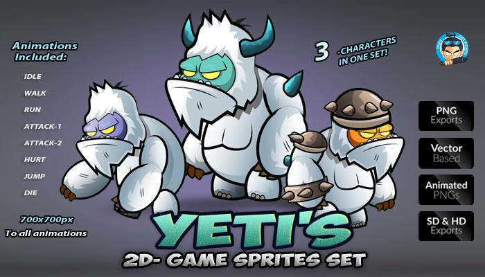 Yeti 2D Game Sprites Set