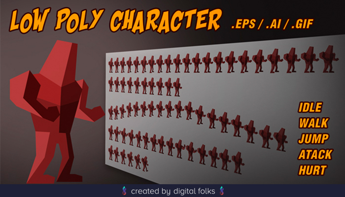 Low poly red Character