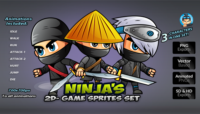 Ninja Game Character Sprites Set