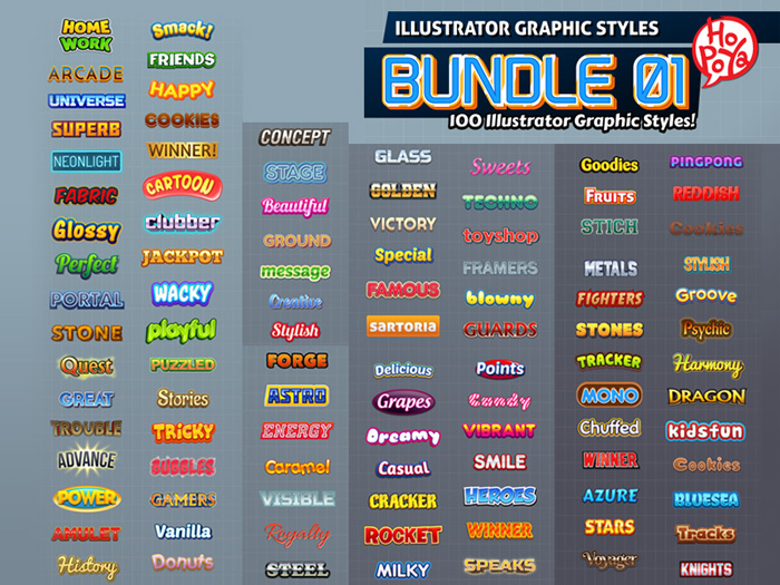 100 Illustrator Graphic Styles Bundle 01