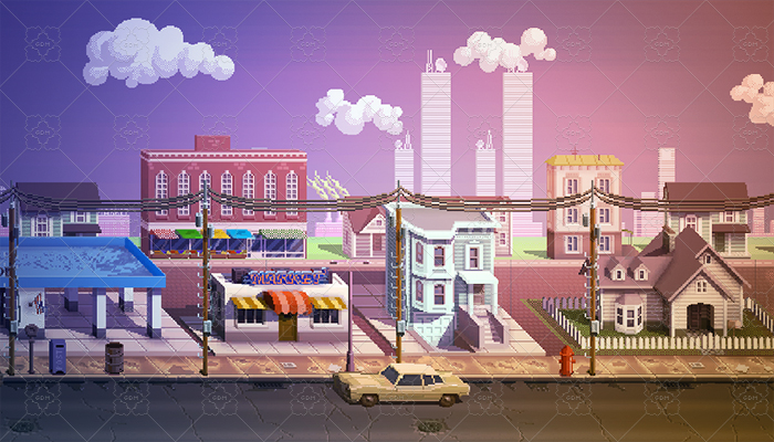16-bit or 8-bit style Cartoon City Sprites
