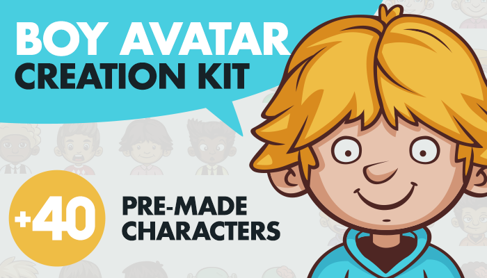 Cartoon Boy Avatar Creation Kit with 40 Pre-made Characters