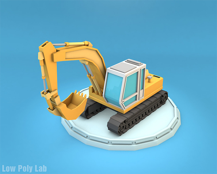 Cartoon Excavator Low Poly 3D Model