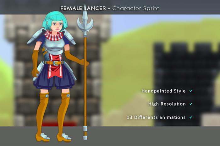 Female Lancer – Character Sprite