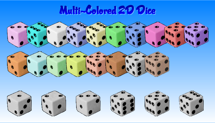 18 Colored 2D Dice