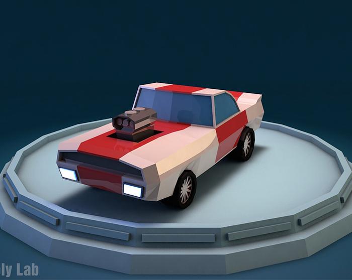 Cartoon Racing Car Low Poly 3D Model