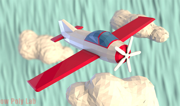 Cartoon Plane Low Poly 3D Model
