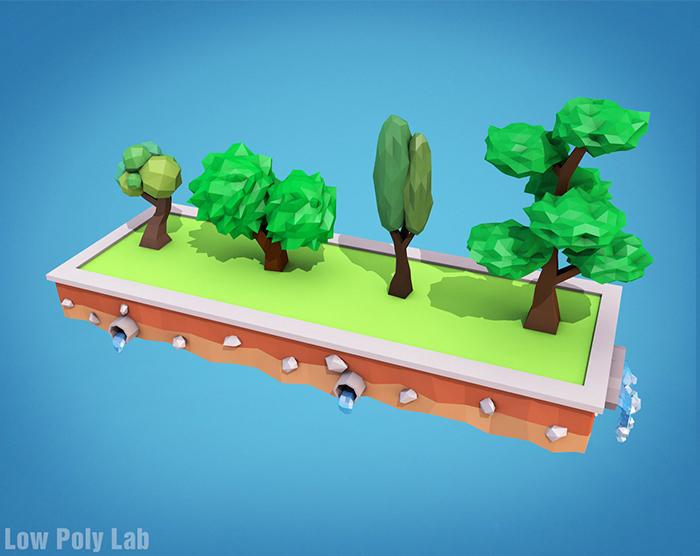 Cartoon Trees Low Poly 3D Model