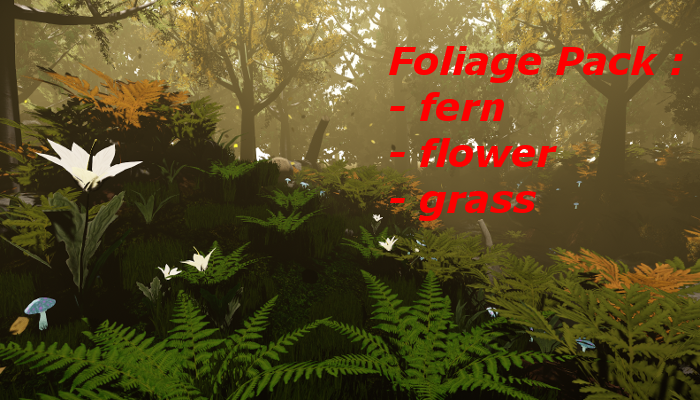 Nature Foliage pack : fern, grass and flower