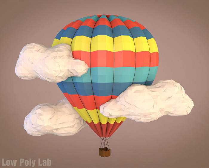 Cartoon Balloon Low Poly 3D model