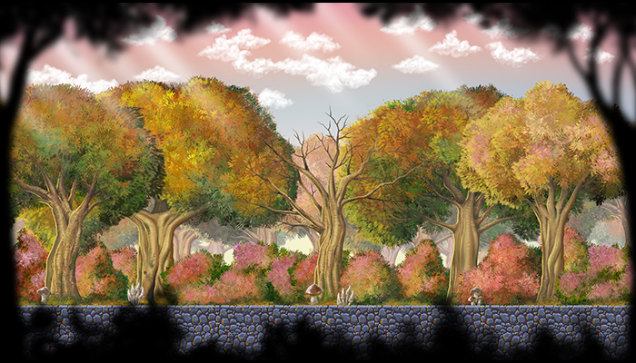 Hand painted 4 seasons forest assets