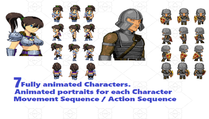 7 Animated RPG Characters and Animated Portraits