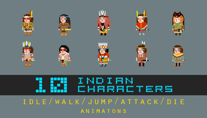 Pixel art indian characters