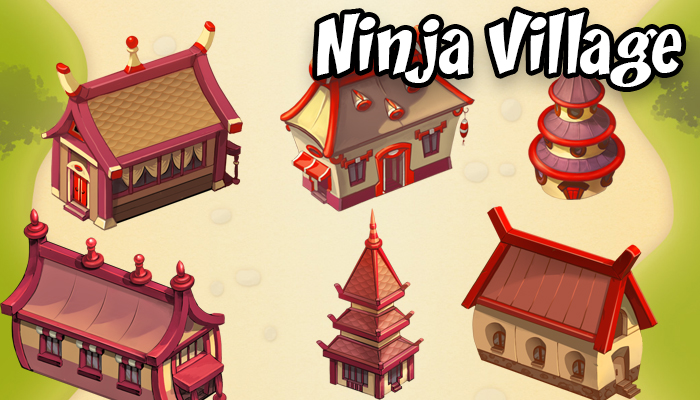 Isometric Asian village buildings and houses