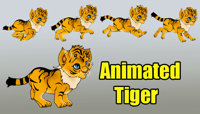 Animated Running and Walking Tiger
