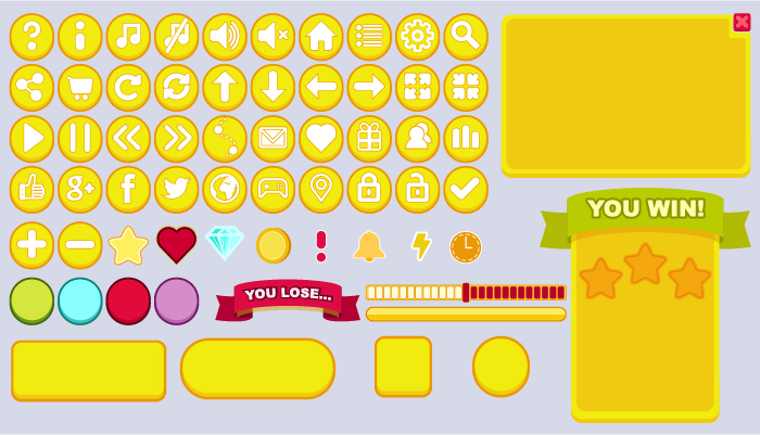 Bright flat cartoon buttons set