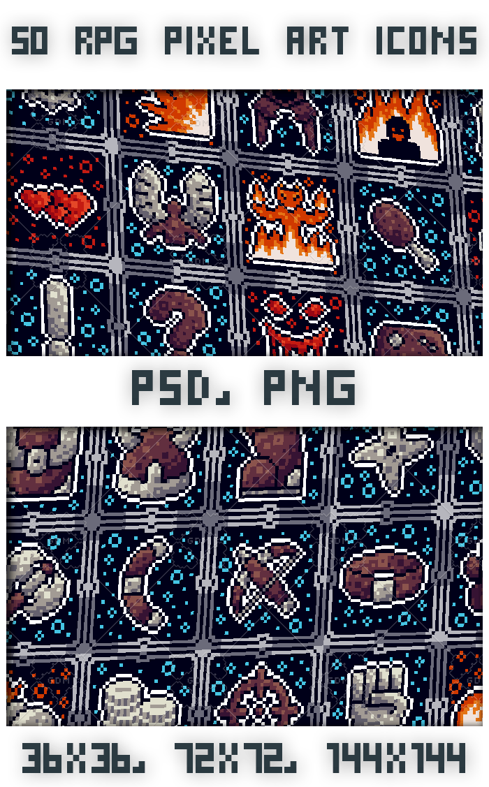 50 Pixel art RPG icons