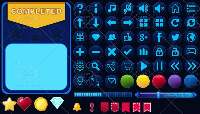 Game UI Vector set Space theme