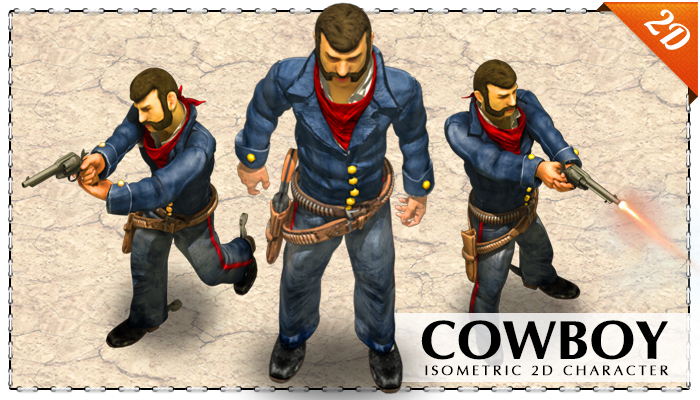 2D blue uniform cowboy with a revolver