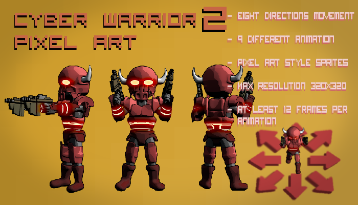 Cyber Warrior 2 Pixel Art Top Down Shooter