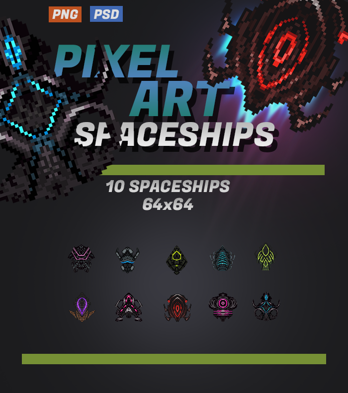 Pixel Art Spaceships Pack