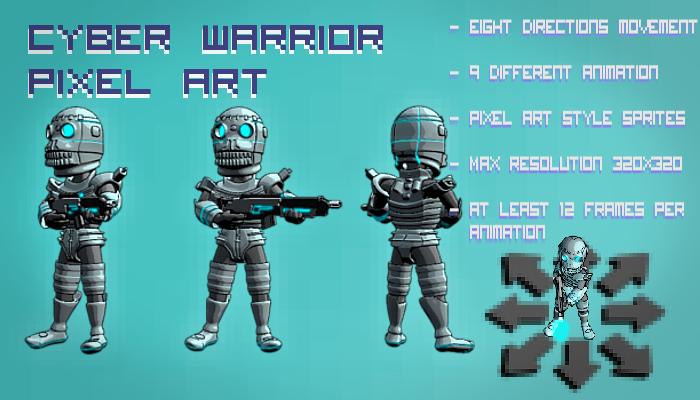Cyber Warrior Pixel Art Top Down Shooter