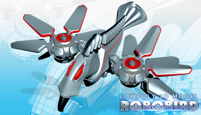 Animated Robot Bird 3D Model