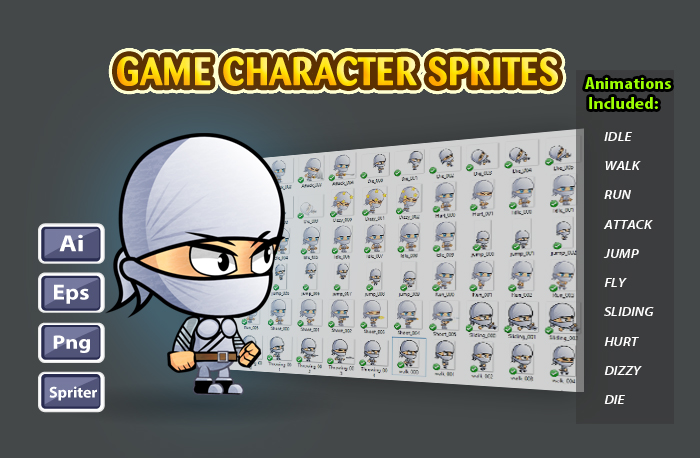 White Girl Ninja Game Character Sprites