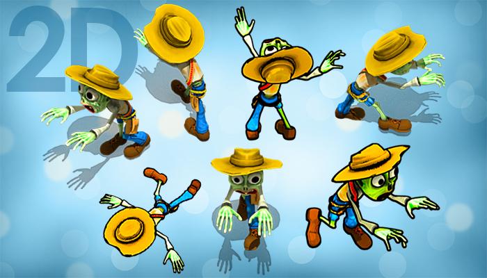 2D Toon Zombie Cowboy