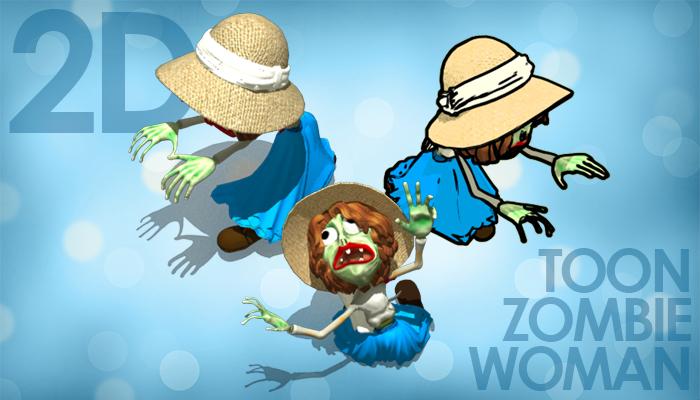 2D Toon Zombe Woman