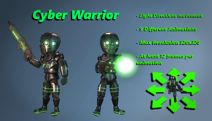 Cyber Warrior Top Down Shooter