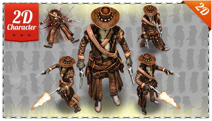 2D cowboy with Two Guns