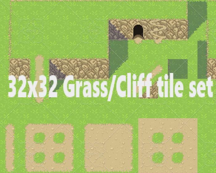 Cliffside and Grass patch 32 x 32 tileset
