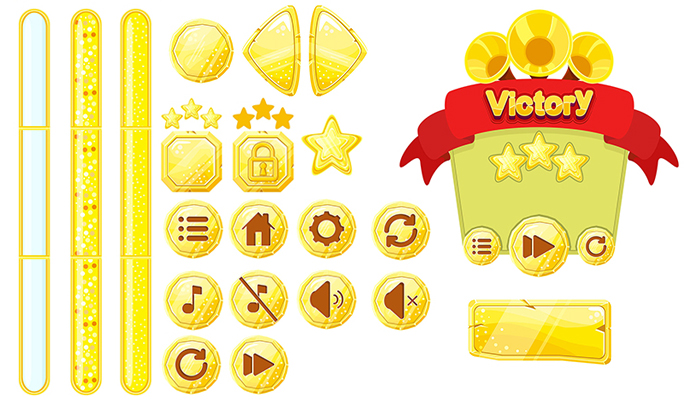 Game GUI Golden vector set