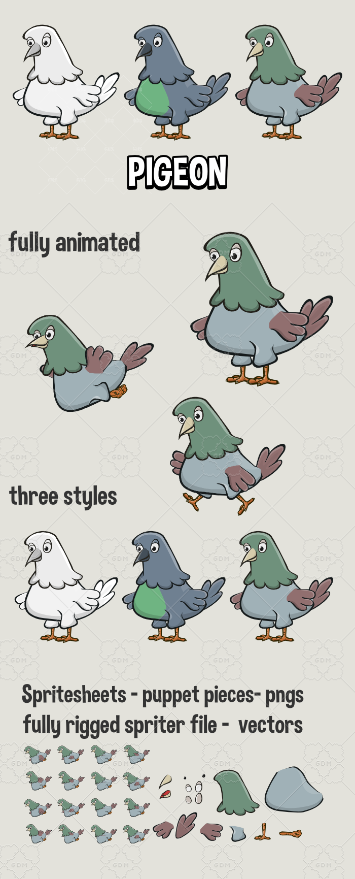 Animated pigeon