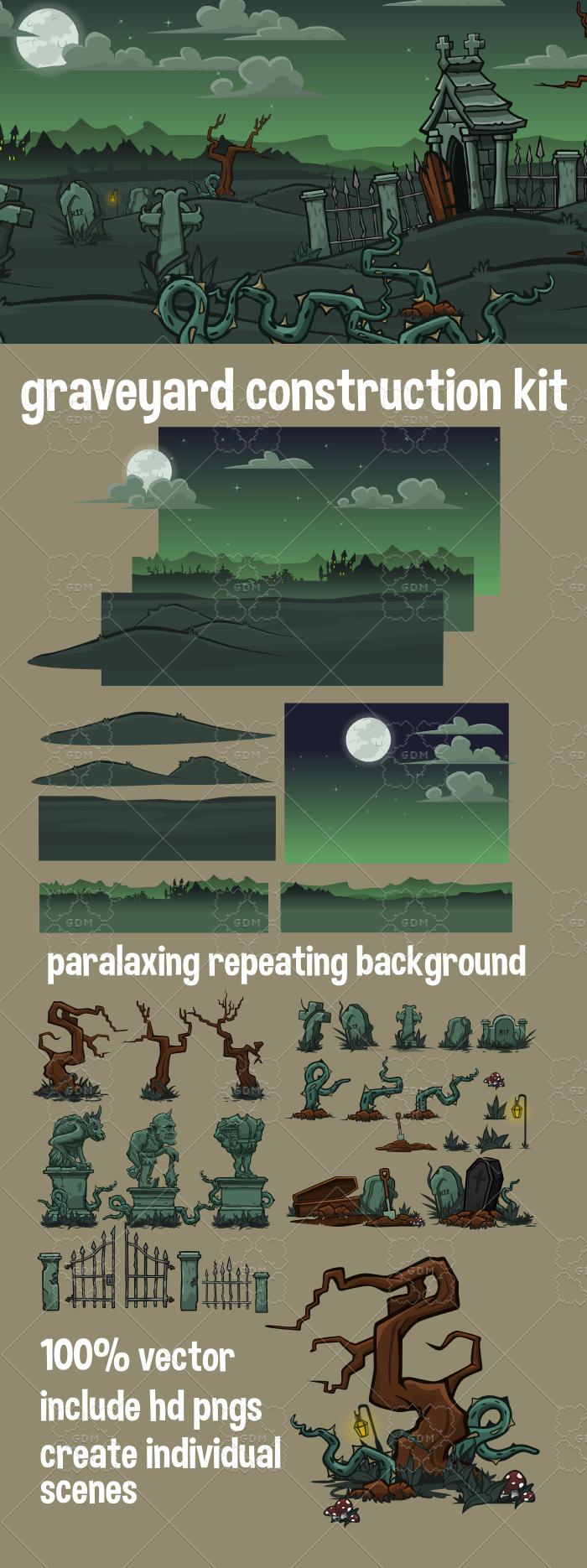 Graveyard scene creation kit