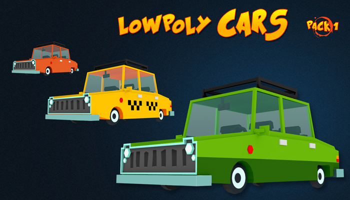 Low poly animated cars pack 1