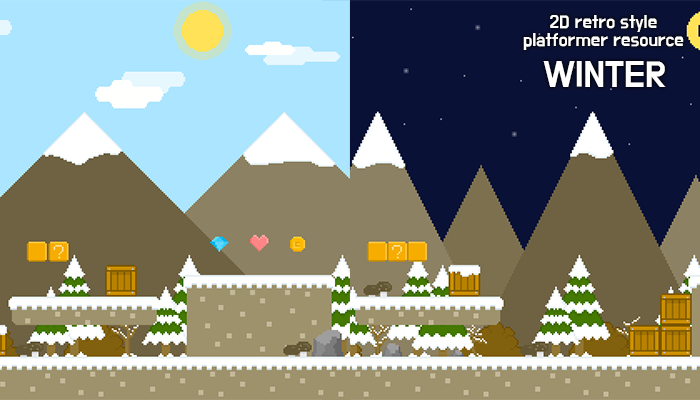 winter forest – 2D retro background