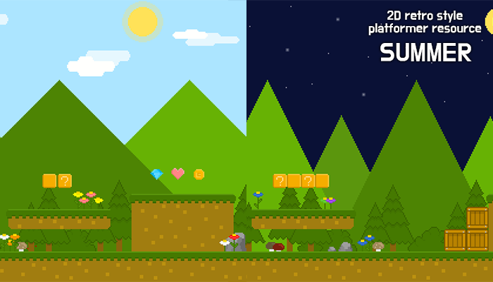 summer forest – 2D retro background