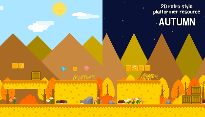 autumn forest – 2D retro background