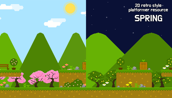 spring forest – 2D retro background