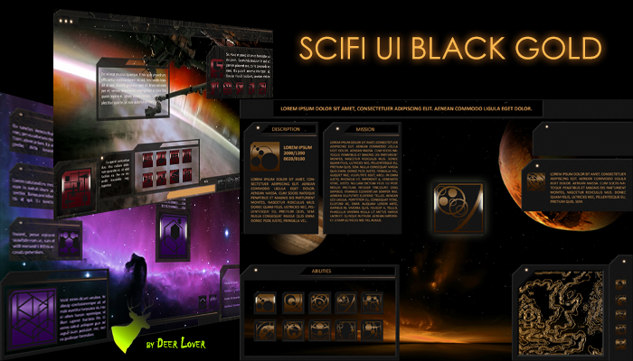 Scifi UI Black Gold and 99 Icons