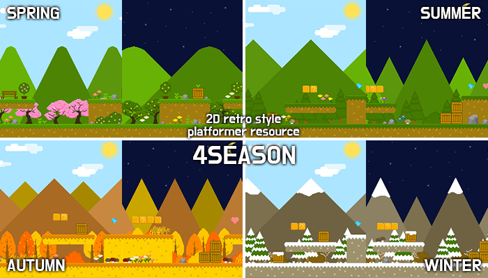 4 season forest – 2D retro background