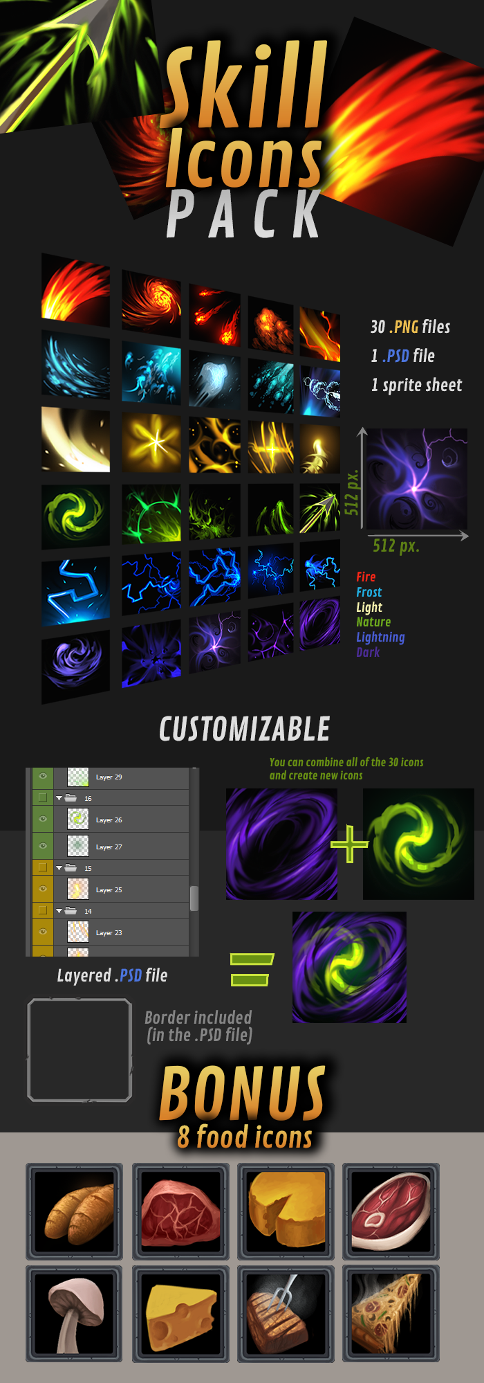 Customizable Skill Icons Pack