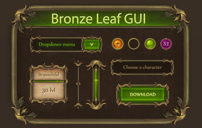 Fantasy GUI – Bronze Leaf