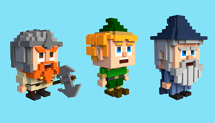 CUTE FANTASY CUBIC CHARACTERS.