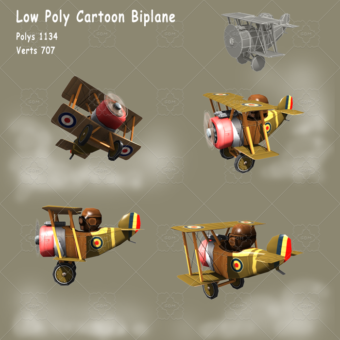 Low poly cartoon WW1 biplane