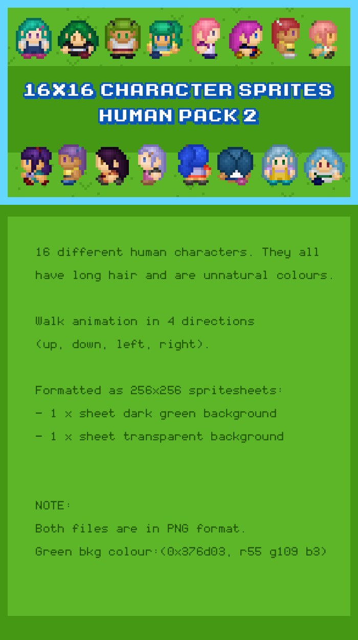 16×16 Character Sprites – Human Pack 2