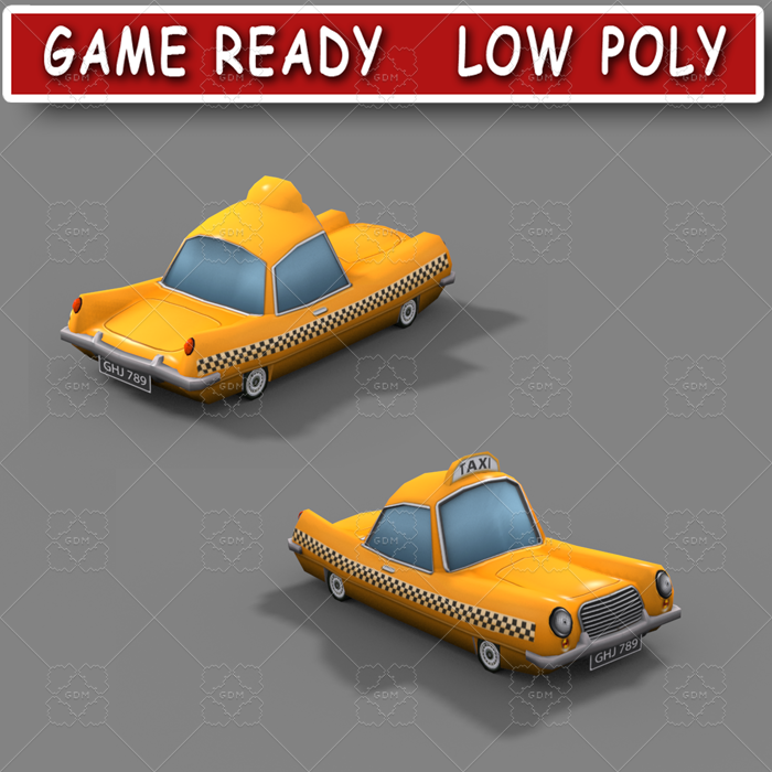 Low poly cartoon taxi
