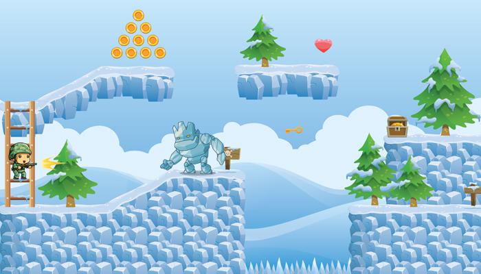 Snowy Platformer Game Tileset